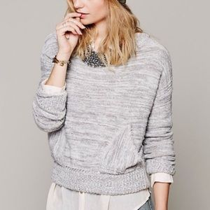 FREE PEOPLE In My Pocket Knit Sweater Gray